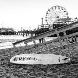 Santa Monica Beach Rescue landscape photography canvas and framed wall art