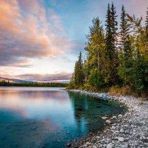 Boya Lake Sunset landscape photography canvas and framed wall art