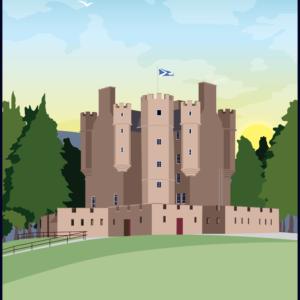Braemar Castle, Aberdeenshire, Scotland rustic digital canvas wall art print