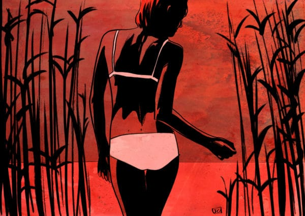 By the Lake digital comic illustration wall art canvas framed prints