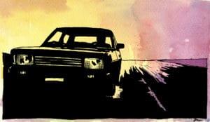 Car Watercolour digital comic illustration wall art canvas framed prints