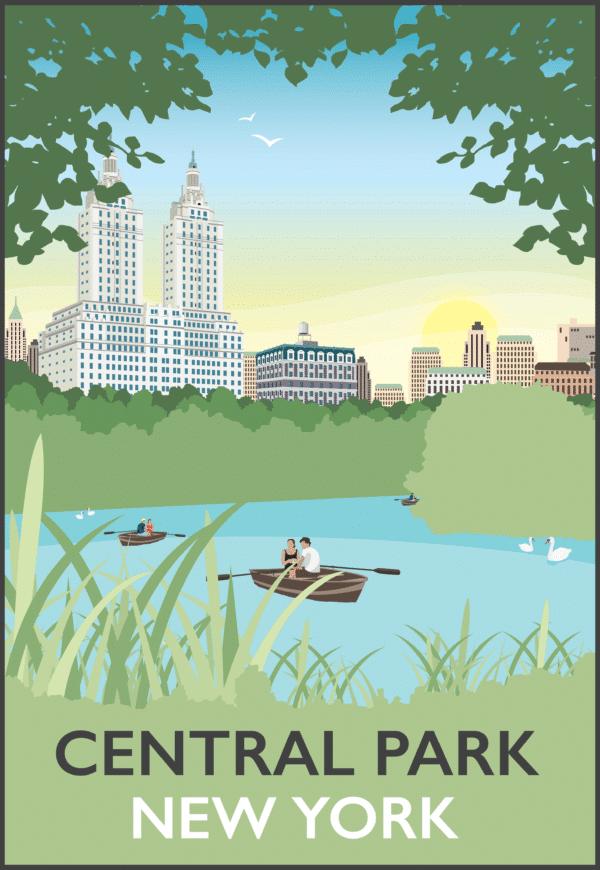 Central Park, New York, USA rustic digital canvas wall art print