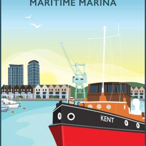 Chatham Maritime Marina, River Medway, Kent rustic digital canvas wall art print