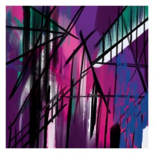 City In Purple abstract framed wall art