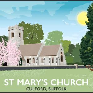 Culford Church, Bury St Edmunds, Suffolk rustic digital canvas wall art print
