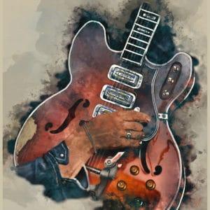 Dan Auerbach's guitar digital canvas artwork prints