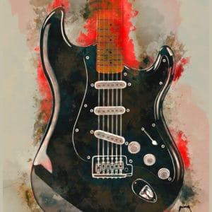 David Gilmour's guitar digital canvas artwork prints