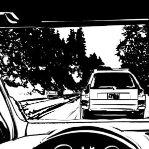 Drive digital comic illustration wall art canvas framed prints