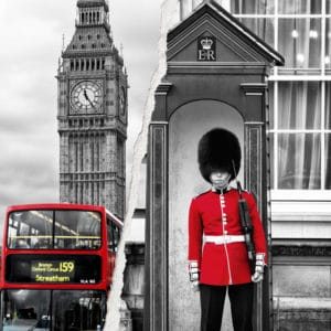 Red London landscape photography canvas and framed wall art