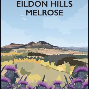 Eildon Hills, Melrose, Scotland Portrait rustic digital canvas wall art print