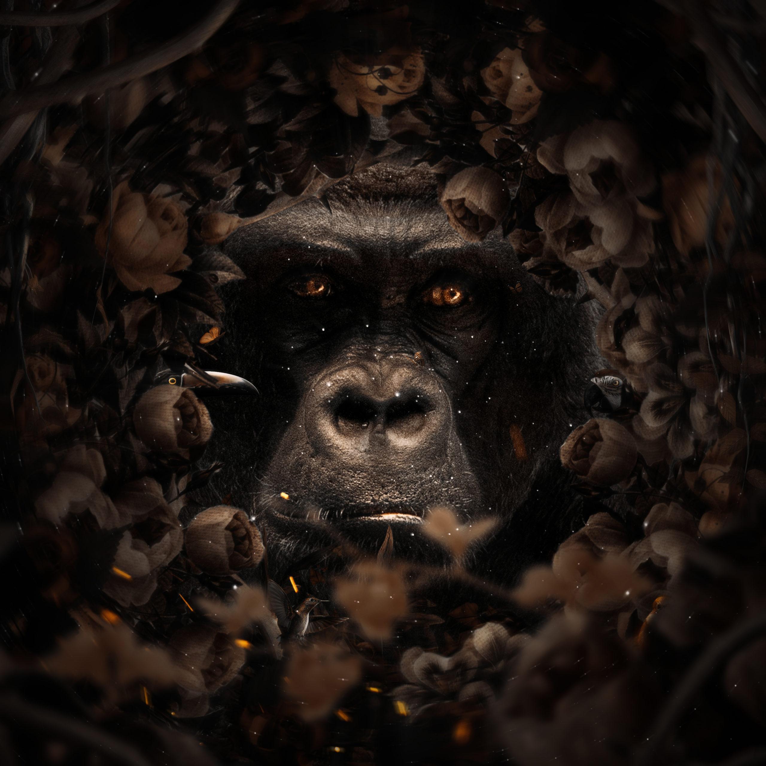 Floral Gorilla surreal digital wall art prints