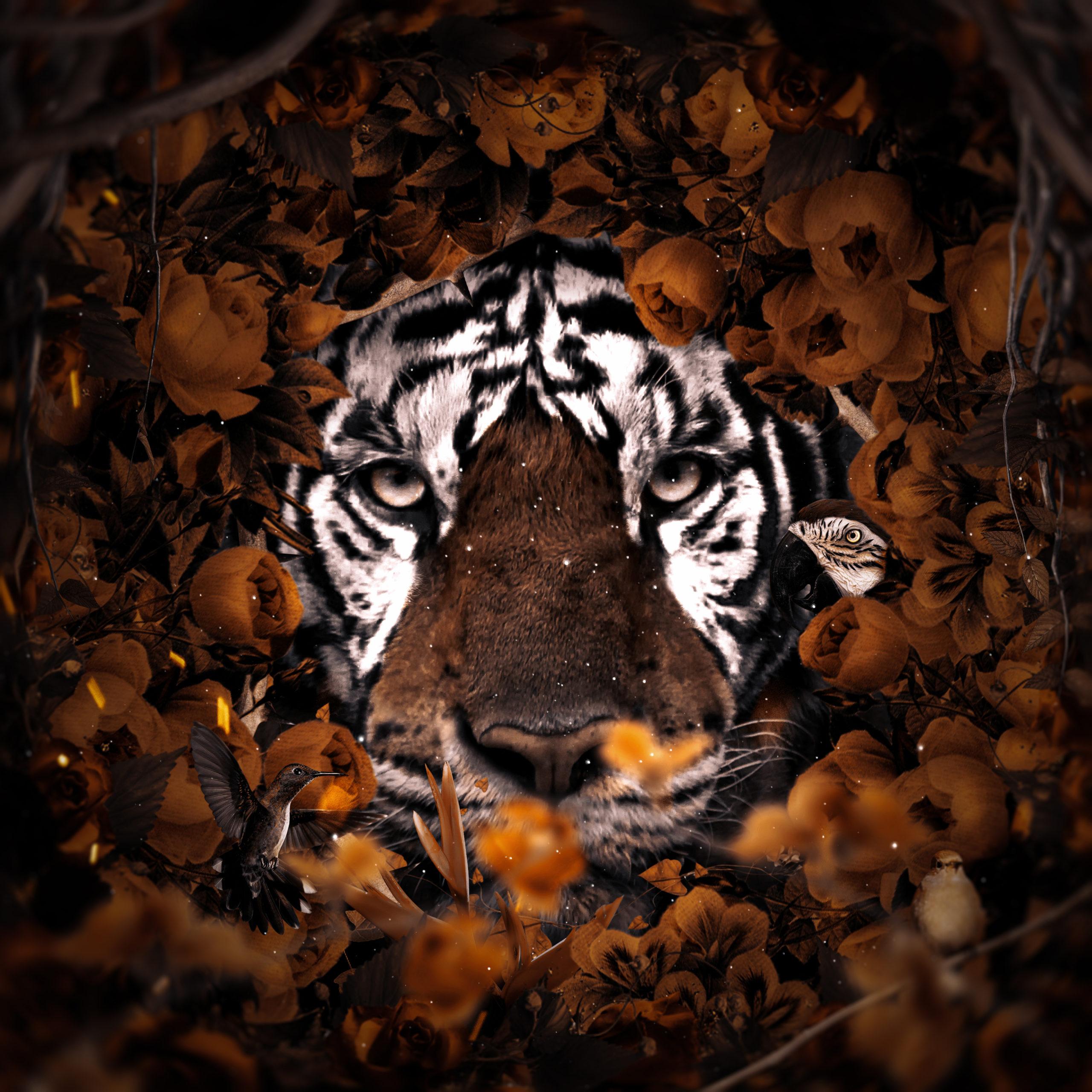 Floral Tiger surreal digital wall art prints
