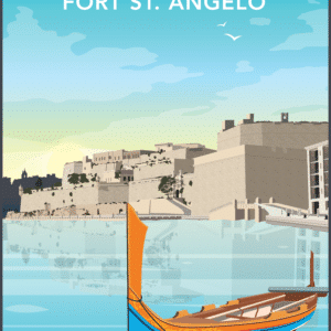 Fort St Angelo, Malta rustic digital canvas wall art print