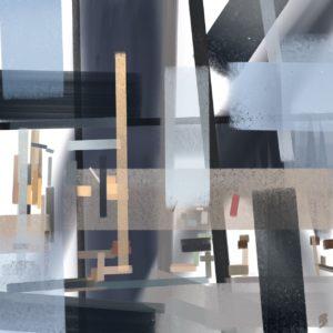Glass and Tubular Steel abstract framed wall art