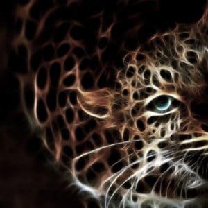 Glowing Leopard surreal digital wall art prints