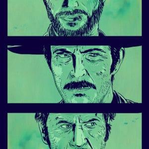 Good Bad Ugly digital comic illustration wall art canvas framed prints
