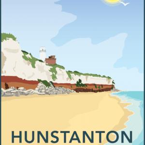 Hunstanton Beach, Norfolk rustic digital canvas wall art print