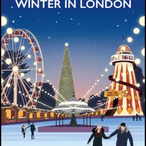 Hyde Park, Winter in London rustic digital canvas wall art print