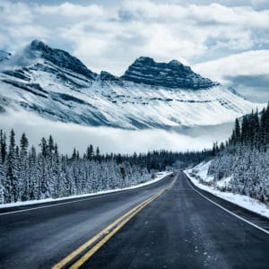 Icy Roads landscape photography canvas and framed wall art