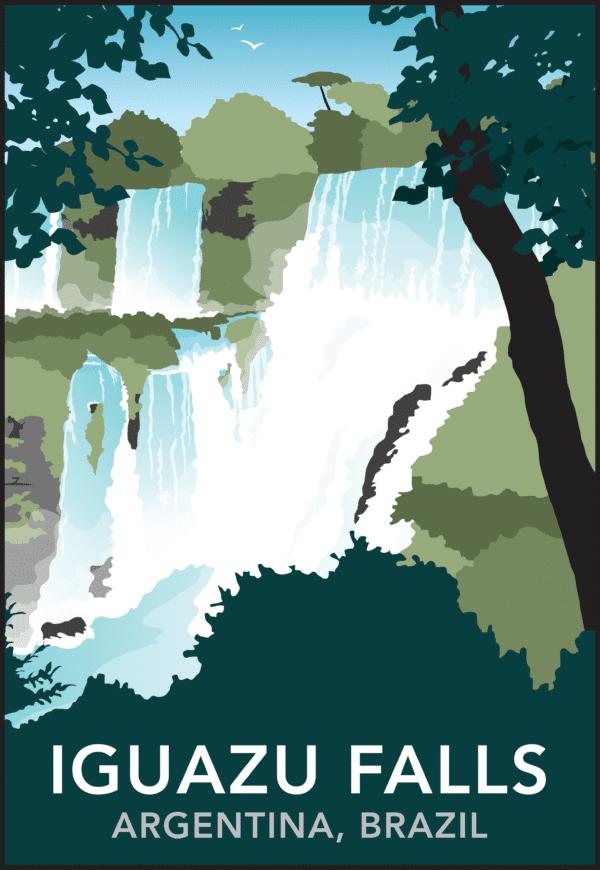 Iguazu Falls, Argentina, Brazil rustic digital canvas wall art print