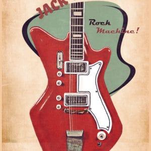Jack White's guitar retro digital canvas artwork prints