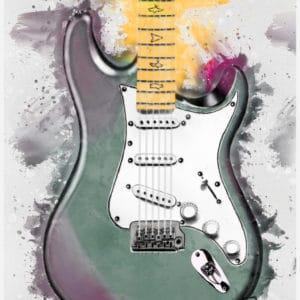John Mayer's Lunar Ice electric guitar digital canvas artwork prints