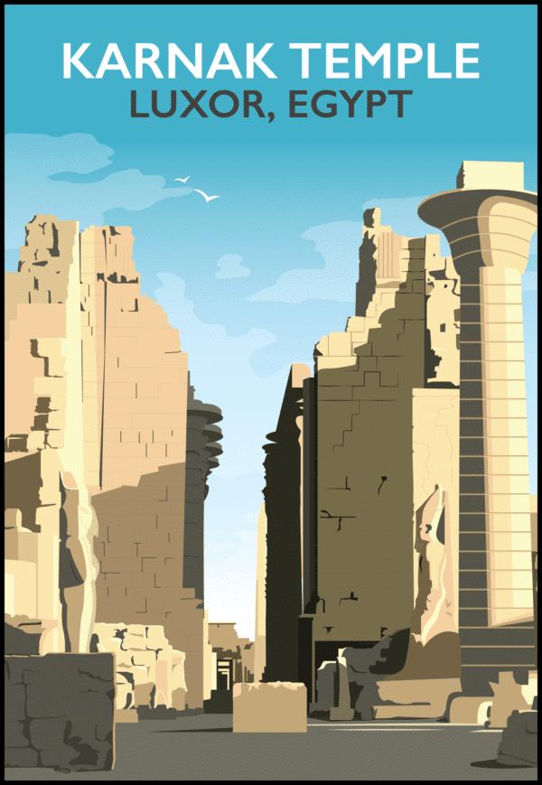 Karnak Temple, Luxor, Egypt rustic digital canvas wall art print