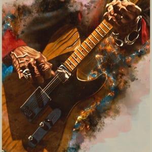 Keef's Guitar digital canvas artwork prints