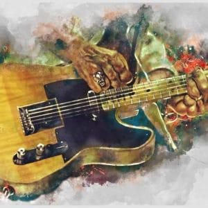 Keef's electric guitar digital canvas artwork prints