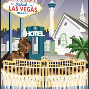 Las Vegas rustic digital canvas wall art print