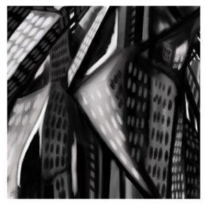 Liquid City abstract framed wall art
