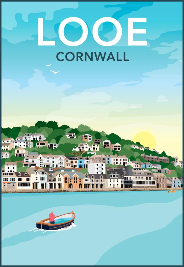 Looe, Cornwall rustic digital canvas wall art print