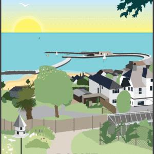 Lyme Regis rustic digital canvas wall art print
