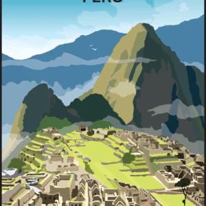 Machu Picchu, Peru rustic digital canvas wall art print