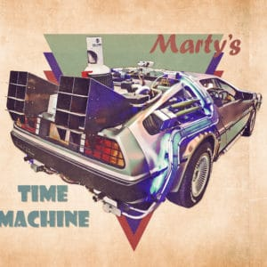Marty's Time Machine digital canvas artwork prints