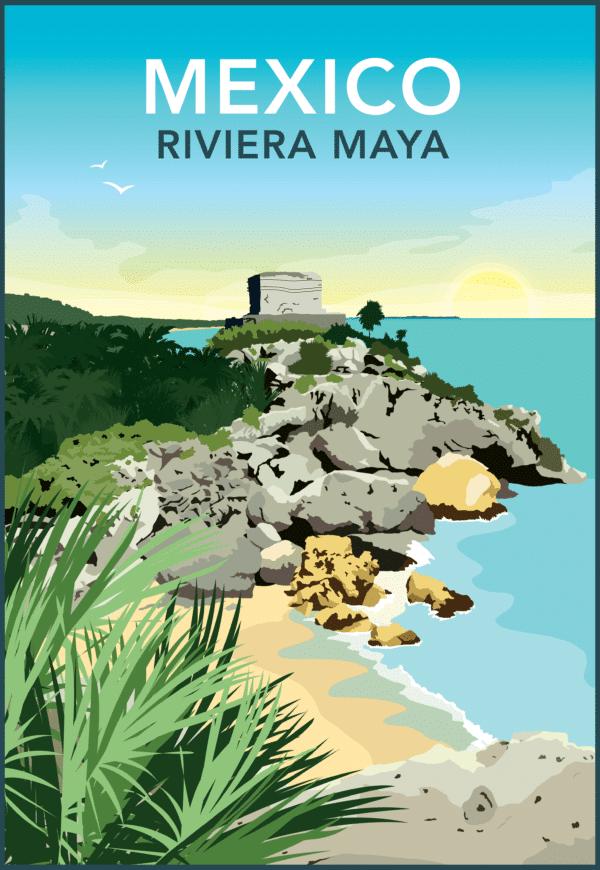 Mexico, Tulum, Riviera Maya rustic digital canvas wall art print