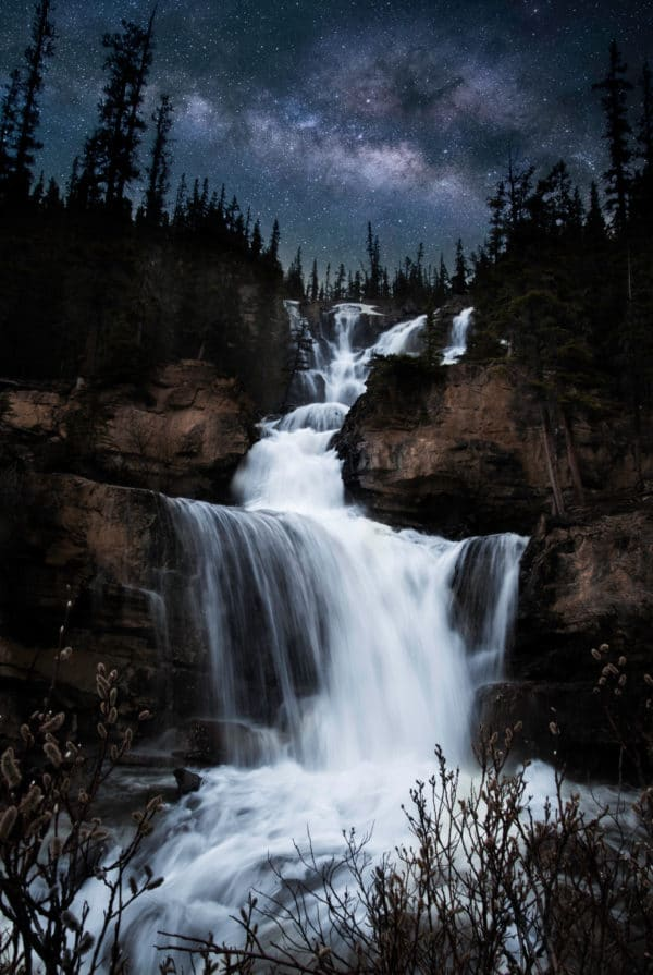 Milky Way Waterfall landscape photography canvas and framed wall art