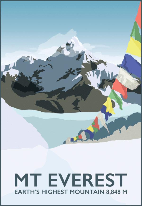 Mount Everest Base Camp rustic digital canvas wall art print
