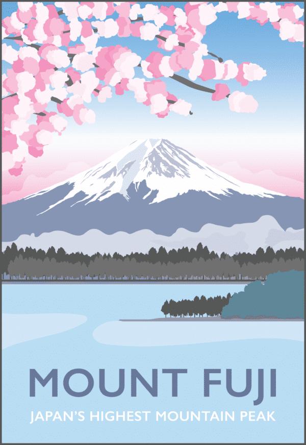 Mount Fuji rustic digital canvas wall art print