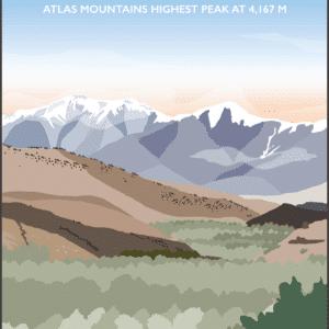 Mount Toubkal, Atlas Mountains rustic digital canvas wall art print