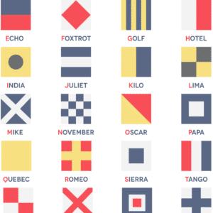 Nautical Flag Alphabet rustic digital canvas wall art print