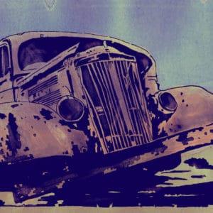 Old Car digital comic illustration wall art canvas framed prints