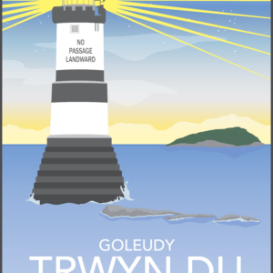 Penmon Lighthouse Day Welsh rustic digital canvas wall art print