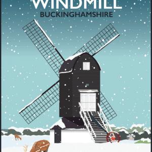 Pitstone Windmill, Buckinghamshire Winter rustic digital canvas wall art print