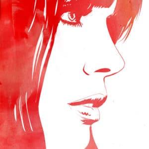 portrait in red digital comic illustration wall art canvas framed prints
