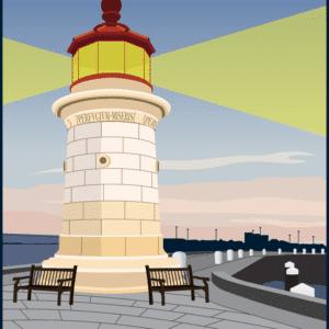 Ramsgate Lighthouse rustic digital canvas wall art print