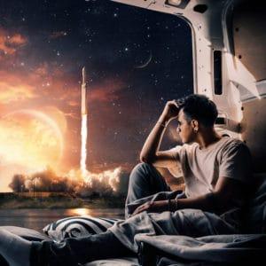 Rocket Launch surreal digital wall art prints