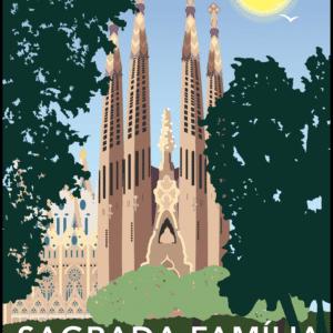 Sagrada Familia, Barcelona rustic digital canvas wall art print