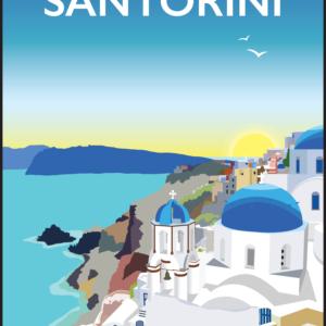 Santorini, Greece rustic digital canvas wall art print