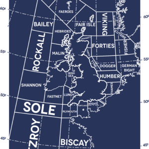 Shipping Forecast Navy rustic digital canvas wall art print